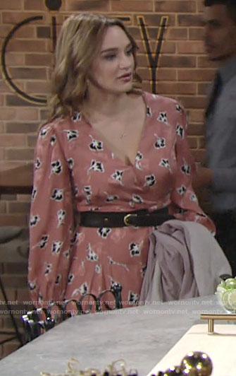 Summer's pink floral midi dress on The Young and the Restless