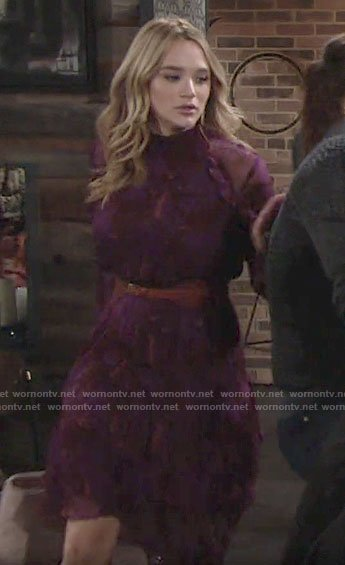 Summer's purple printed long sleeve dress on The Young and the Restless
