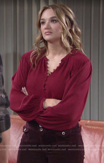 Summer's red buttoned blouse on The Young and the Restless