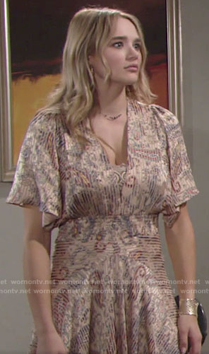 Summer's striped paisley print midi dress on The Young and the Restless