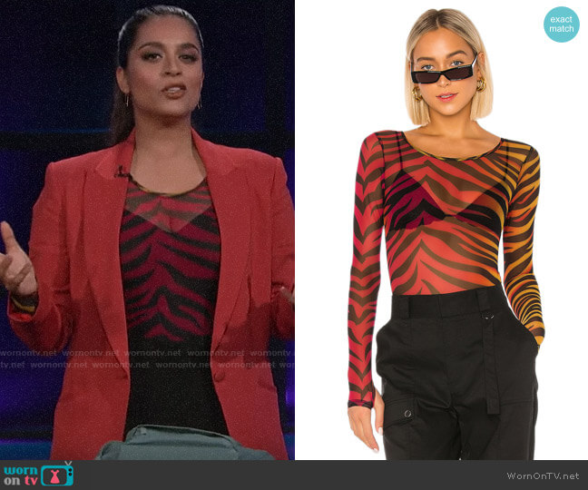Superdown Trina Mesh Bodysuit worn by Lilly Singh  on A Little Late with Lilly Singh