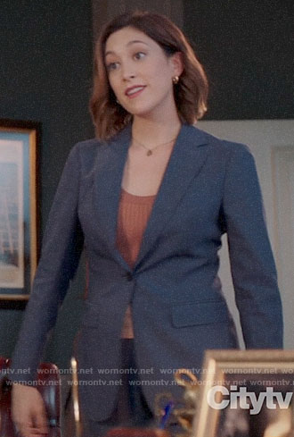 Sydney's blue blazer on Bluff City Law