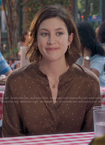 Sydney's brown polka dot blouse on Bluff City Law