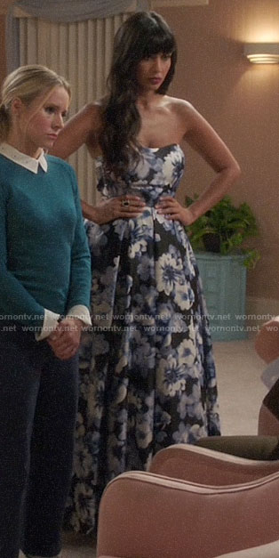 Tahani's floral strapless gown on The Good Place