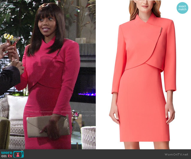 Tahari ASL Cropped-Jacket Dress Suit worn by Amanda Sinclair (Mishael Morgan) on The Young & the Restless