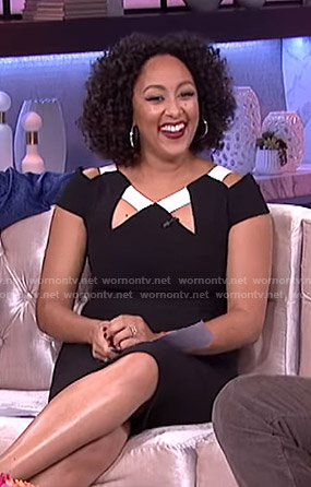 Tamera's black cutout sheath dress on The Real