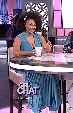 Tamera's blue choker neck pleated dress on The Real