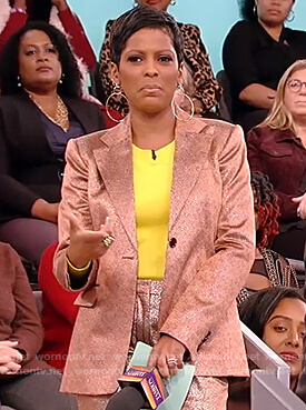 Tamron's metallic blazer and pants on Tamron Hall Show