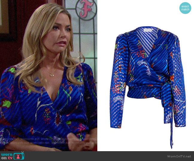 Tanya Taylor Erica Burnout Wrap-Style Blouse worn by Shauna Fulton (Denise Richards) on The Bold & the Beautiful