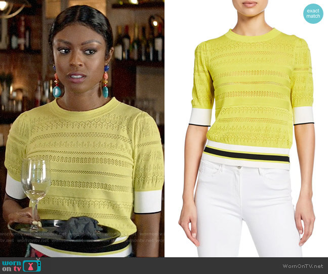 Tanya Taylor Leticia Sweater worn by Ali Finer (Javicia Leslie) on God Friended Me