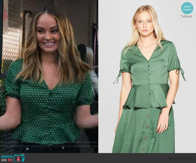 Short Tie Sleeve V-Neck Button Detail Peplum Top by Who What Wear at Target worn by Patty Bladell (Debby Ryan) on Insatiable