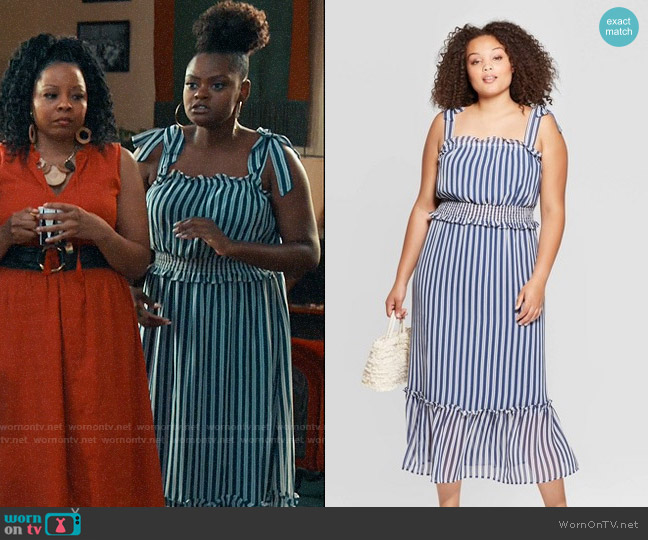 Target Who What Wear Shoulder Tie Smocked Dress worn by Leanne (Shanice Williams) on Perfect Harmony