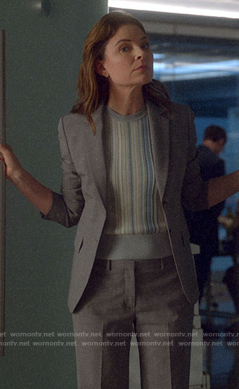 Taylor's grey suit and blue striped top on Bull
