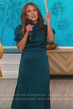 Carrie's teal puff sleeve satin dress on The Talk
