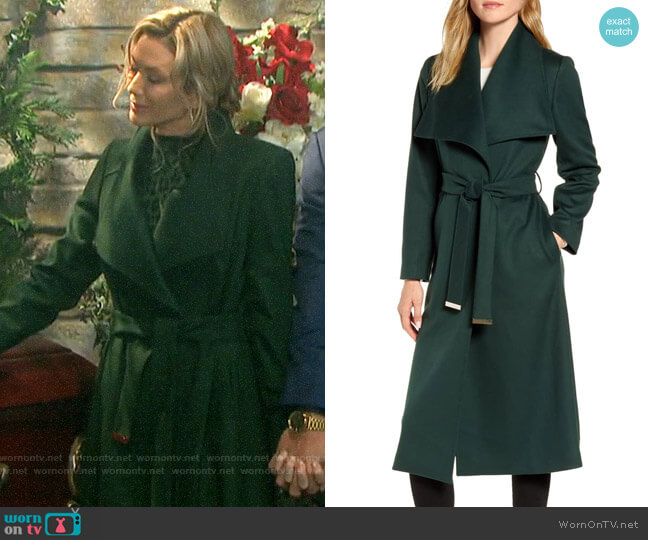 Ted Baker Wide Collar Brushed Wrap Coat worn by Kristen DiMera (Stacy Haiduk) on Days of our Lives