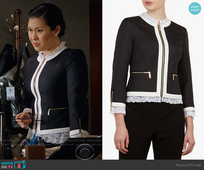 Ted Baker Ennio Jacket worn by Sherri Kansky (Ruthie Ann Miles) on All Rise