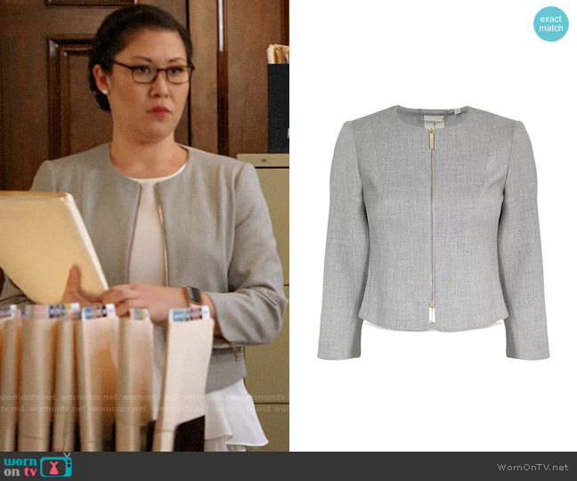 Ted Baker Micah Cropped Textured Zip-Front Blazer worn by Sherri Kansky (Ruthie Ann Miles) on All Rise