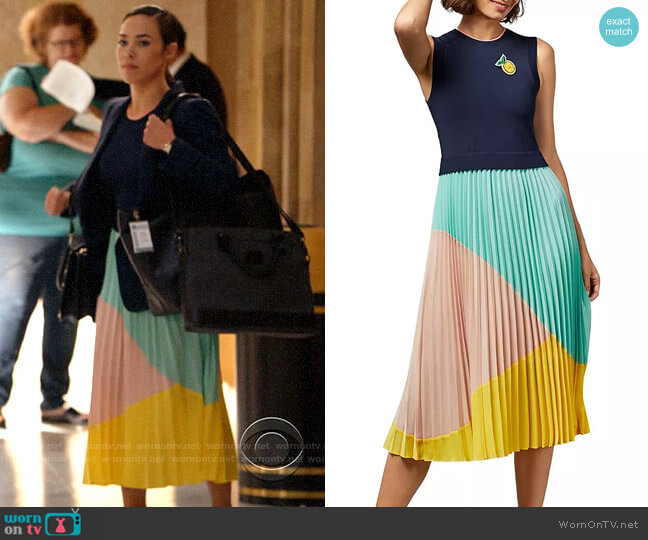 Ted Baker Ophelea Sleeveless Color-Block Dress worn by Emily Lopez (Jessica Camacho) on All Rise