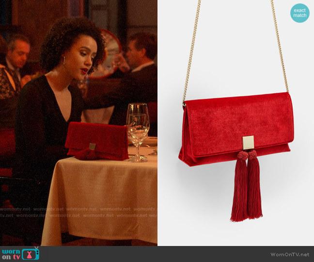 Ted Baker Karly Velvet Brocade Tassel Clutch worn by Maya (Nathalie Emmanuel) on Four Weddings & a Funeral