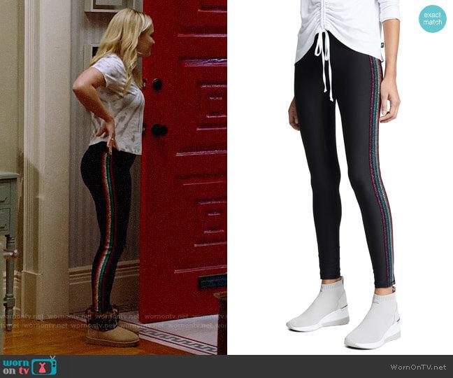 Terez Metallic Elastic Side Insert Leggings worn by Roxy Doyle (Emily Osment) on Almost Family