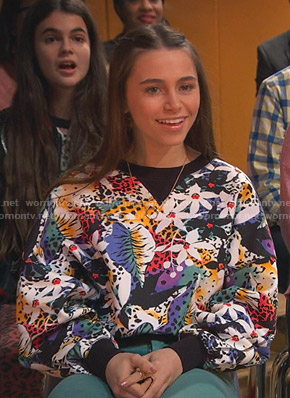 Tess's floral and leopard print sweatshirt on Ravens Home