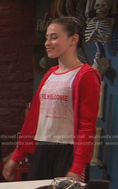 Tess's You're Welcome print tee on Ravens Home
