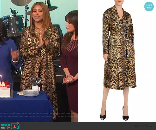 Leopard print silk-satin Kimono by The Kooples worn by Eve  on The Talk