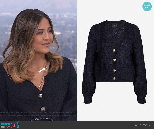 Diamond Chunky-Knitted Cardigan by The Kooples worn by Erin Lim  on E! News