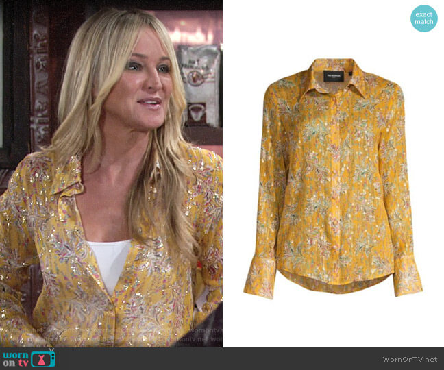 The Kooples Floral Button-Down Blouse worn by Sharon Collins (Sharon Case) on The Young & the Restless