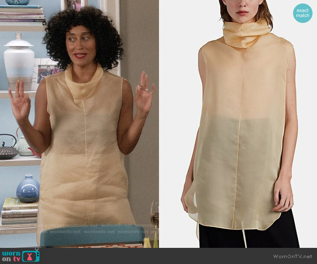 The Row Mora Silk Organza Cowlneck Top worn by Rainbow Johnson (Tracee Ellis Ross) on Blackish