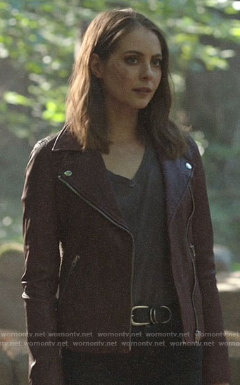Thea's red leather moto jacket on Arrow