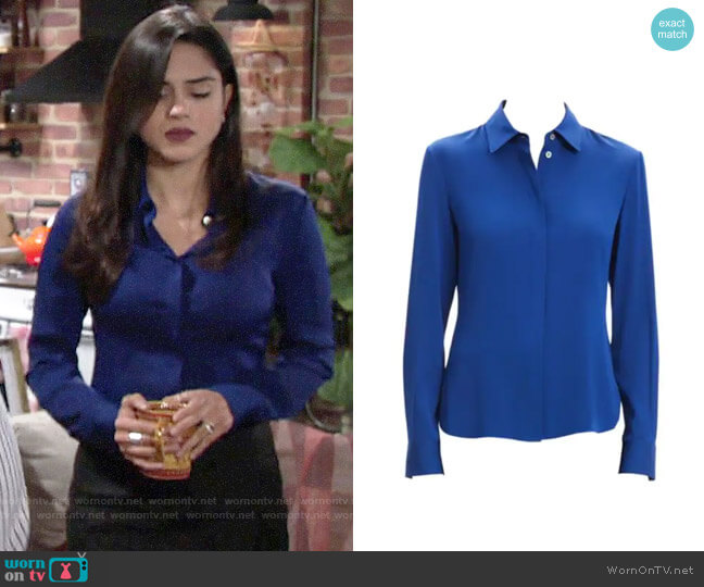 Theory Core Silk Button-Down Shirt worn by Lola Rosales (Sasha Calle) on The Young & the Restless