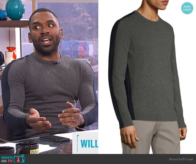 Evers Colorblock Cashmere Sweater by Theory worn by Justin Sylvester  on E! News