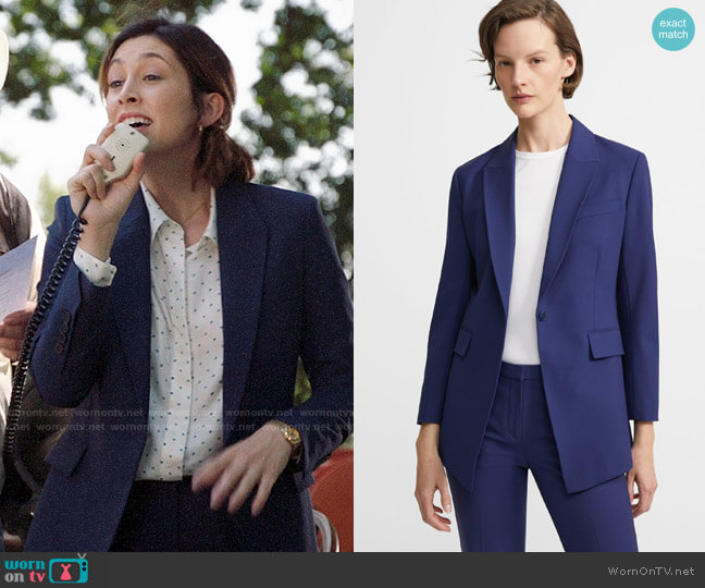 Theory Sea Blue Good Wool Blazer and Pants worn by Sydney Strait (Caitlin McGee) on Bluff City Law