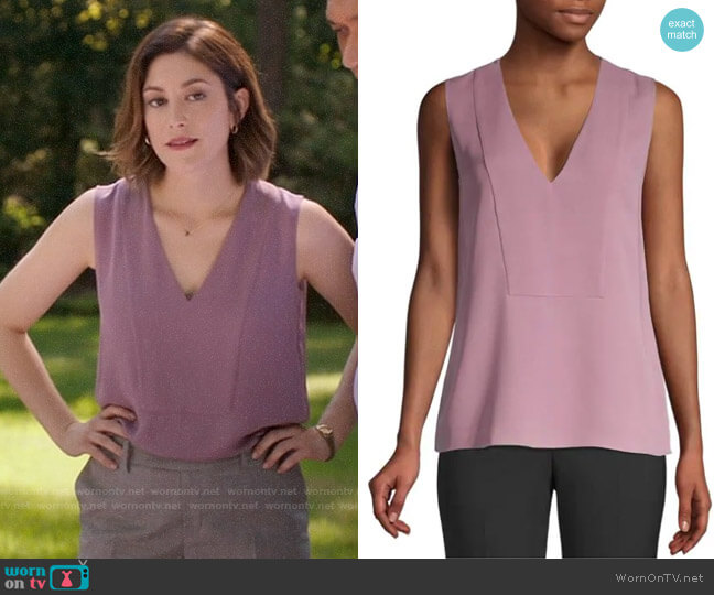 Theory V-neck Silk Shell worn by Sydney Strait (Caitlin McGee) on Bluff City Law