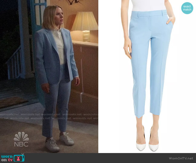 Theory Stream Blue Treeca Pants worn by Eleanor Shellstrop (Kristen Bell) on The Good Place