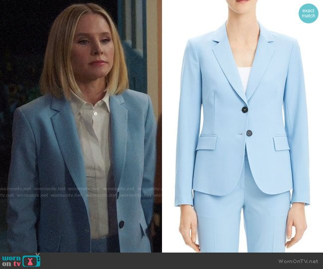 Theory Stream Blue Carissa Blazer worn by Eleanor Shellstrop (Kristen Bell) on The Good Place