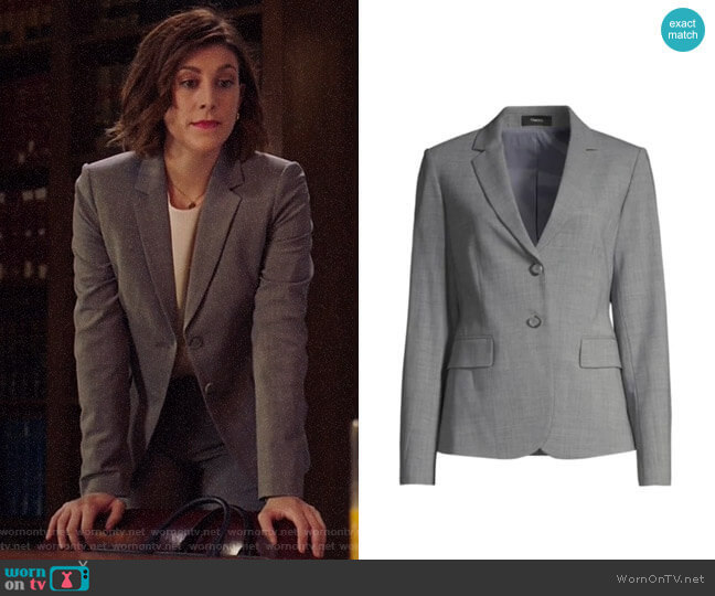 Theory Carissa Blazer worn by Sydney Strait (Caitlin McGee) on Bluff City Law