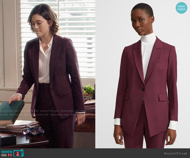 Theory Mulberry Etiennette Blazer and Pants worn by Sydney Strait (Caitlin McGee) on Bluff City Law
