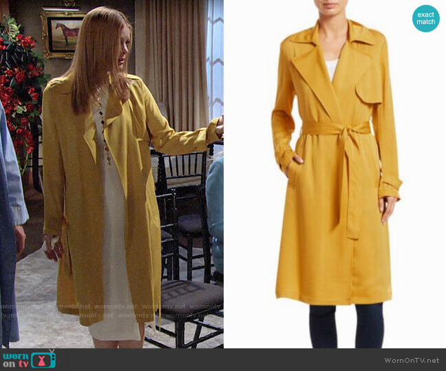 Theory Oaklane Trench in Pollen worn by Phyllis Summers (Michelle Stafford) on The Young & the Restless