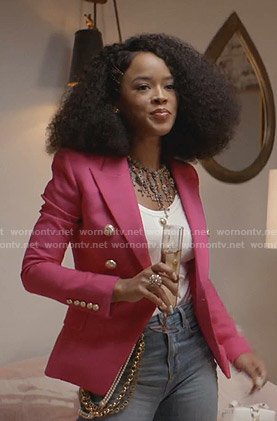 Tiana's pink blazer with gold buttons on Empire