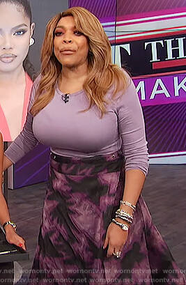 Wendy's purple tie dye skirt on The Wendy Williams Show