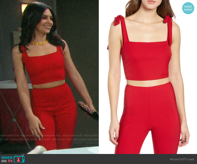 Tiger Mist Kinsley Crop Top and Pants worn by Gabi Hernandez (Camila Banus) on Days of our Lives