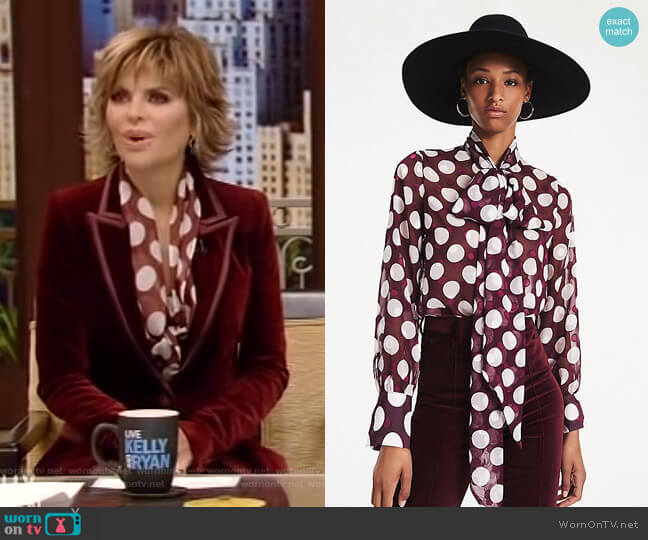 Polka Dot Organza Blouse by Tommy Hilfiger x Zendaya worn by Lisa Rinna on Live with Kelly and Ryan