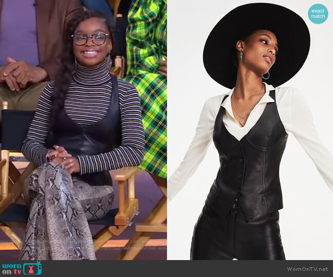 Leather Waistcoat by Tommy Hilfiger x Zendaya worn by Marsai Martin on GMA