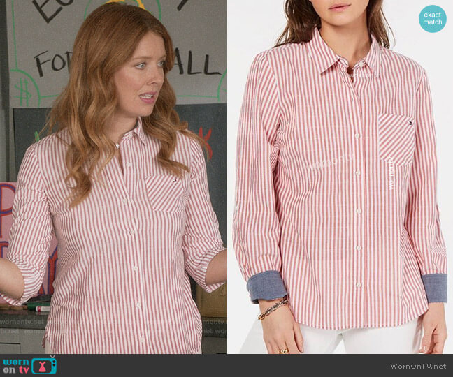 Tommy Hilfiger Striped Utility Shirt worn by Abby (Nadia Quinn) on Black-ish