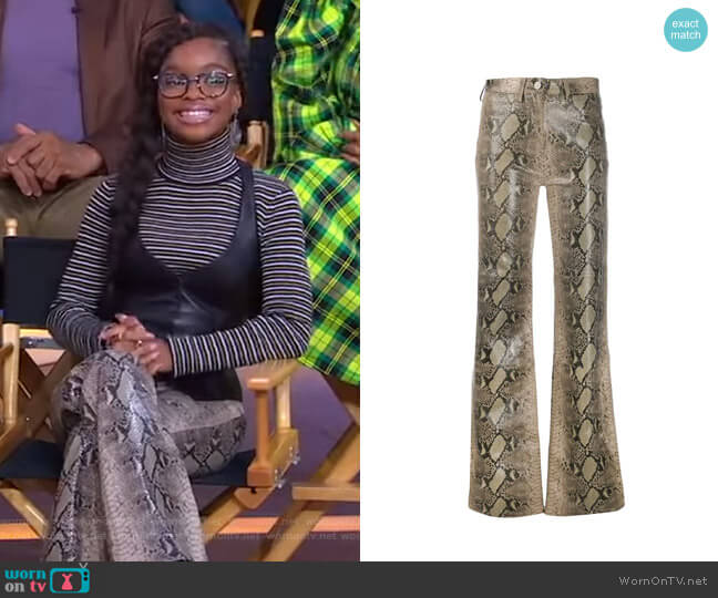 Flared Snakeskin Print Trousers by Tommy Hilfiger x Zendaya worn by Marsai Martin on GMA