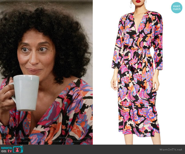 Topshop Belted V-Neck Long Sleeve Midi Dress worn by Rainbow Johnson (Tracee Ellis Ross) on Blackish
