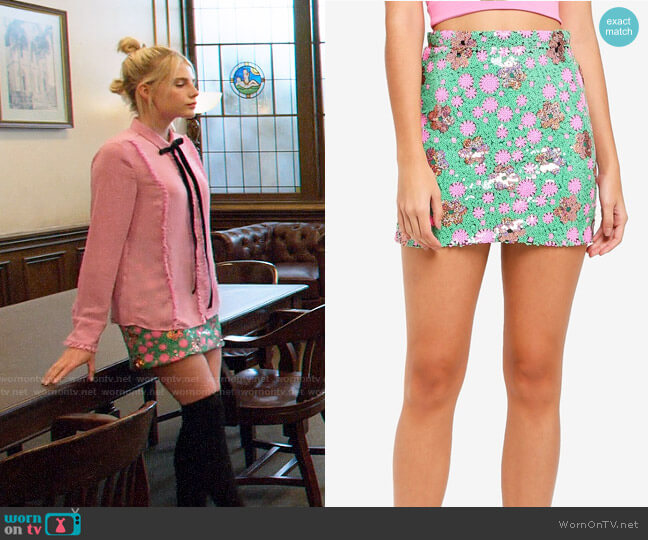 Topshop Flower Sequin Mini Skirt worn by Astrid (Lucy Boynton) on The Politician