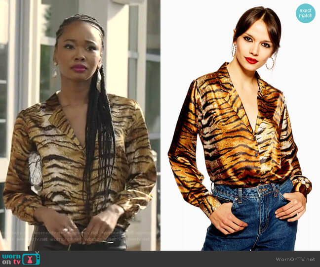 Tiger Print Shirt by Topshop worn by Monica Colby (Wakeema Hollis) on Dynasty